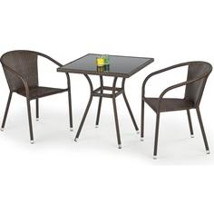 MOBIL stół ogrodowy, kolor: szkło - czarny, ratan - c.brąz