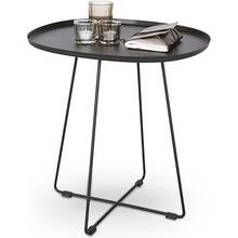 Owalny stolik metalowy TINA 50x42 czarny Halmar do salonu.
