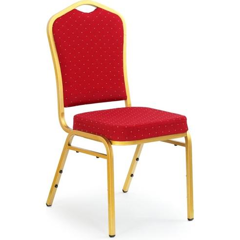 K66 krzesło bordowy, stelaż złoty