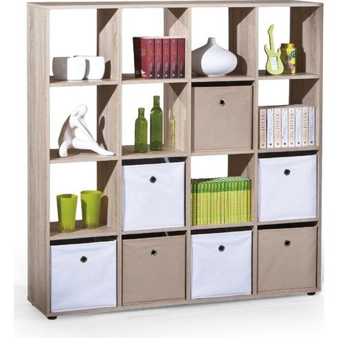 Stylowy Regał z półkami LUINI 16 dąb sonoma Halmar na książki do sypialni i salonu.