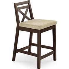 BORYS LOW krzesło barowe niskie ciemny orzech / tap. Vila 2