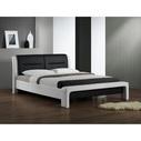 Stylowe Łóżko z eskoskóry CASSANDRA 120 biało-czarne Halmar do sypialni.