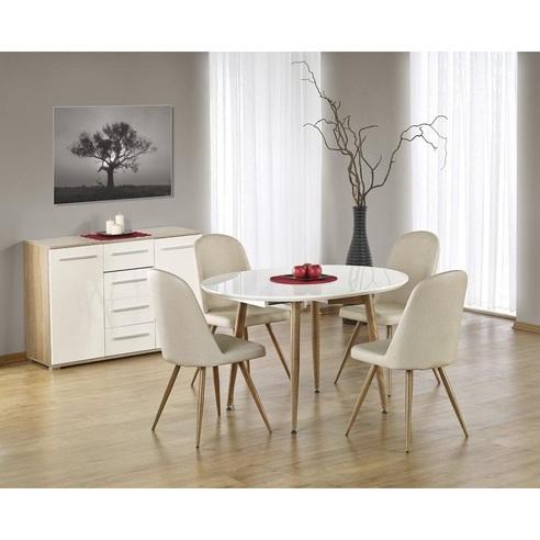 Aktualne Okrągły stół rozkładany Edward 120 biały/dąb miodowy Halmar WV34