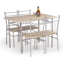 Zestaw stół + 4 krzesła FAUST dąb sonoma/srebrny Halmar do kuchni.