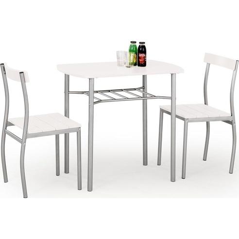 Zestaw stół + 2 krzesła LANCE białe Halmar do kuchni.