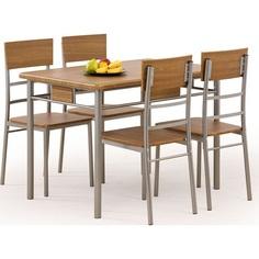 NATAN zestaw stół + 4 krzesła orzech