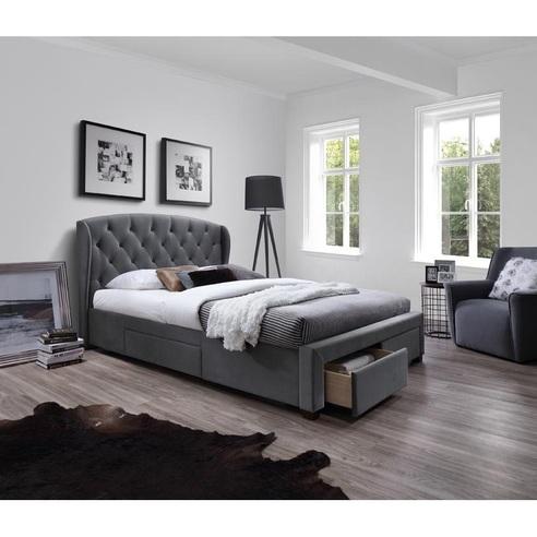 Stylowe Łóżko pikowane z szufladami SABRINA popielate Halmar do sypialni.