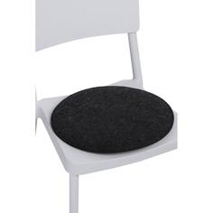 Poduszka na krzesło okrągła szara ciemna