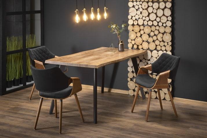 Industrialny stół rozkładany Dickson - dębowo-czarny