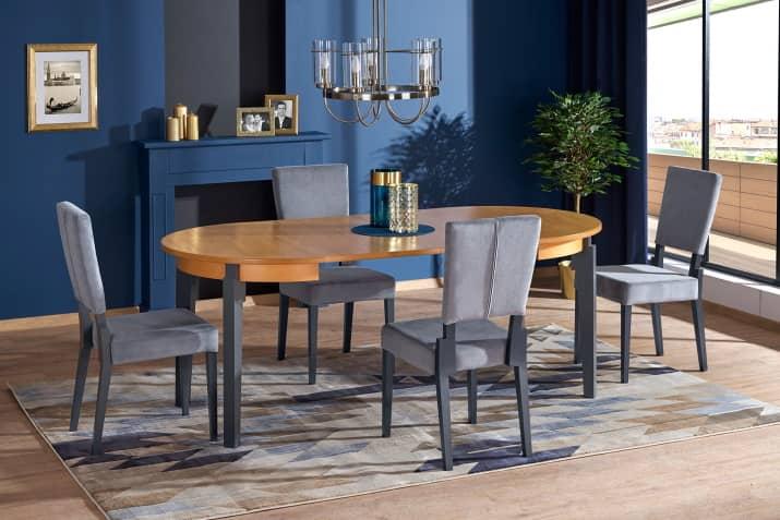 Drewniane krzesło tapicerowane Sorbus w stylu klasycznym.