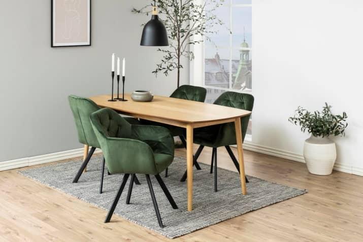 Zielone krzesło welurowe z podłokietnikami Lola