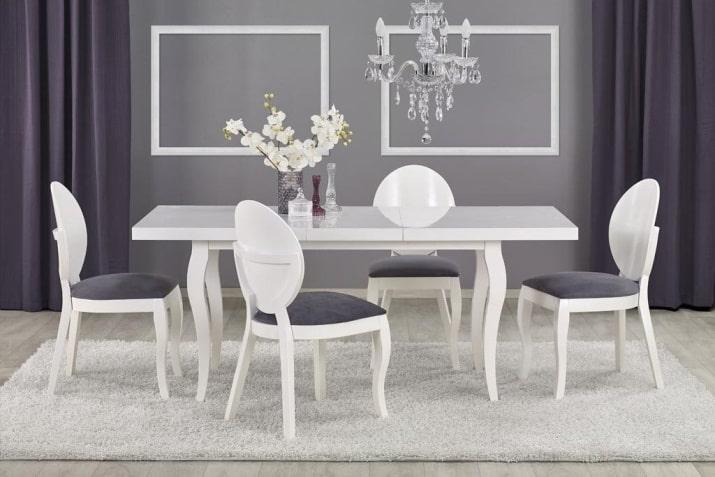 Biały stół rozkładany Mozart w stylu nowoczesnym