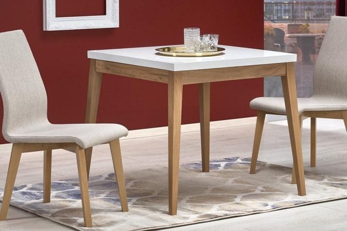 Biały stół kwadratowy Trump w stylu skandynawskim