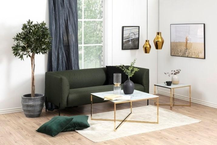 Kwadratowy stolik kawowy z marmurowym blatem i złotą podstawą Alisma 80