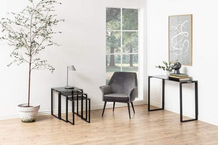 Nowoczesny zestaw szklanych stolików kawowych Katrine do salonu