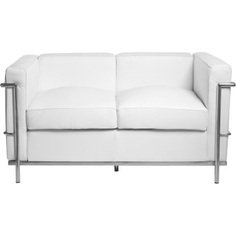 Sofa 2-osobowa Kubik biała skóra TP D2.Design