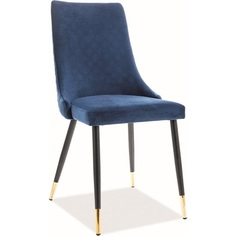 Krzesło tapicerowane Piano Velvet granatowe Signal