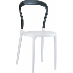 Krzesło MR BOBO białe/czarne przezroczyste Siesta