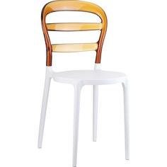 Krzesło MISS BIBI białe/bursztynowe przezroczyste Siesta