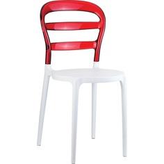 Krzesło MISS BIBI białe/czerwone przezroczyste Siesta