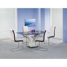 Szklany stół VESPER czarny/biały 160 Halmar