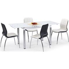 Szklany stół rozkładany L31 biały/chrom 110 Halmar