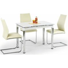 Szklany stół LOGAN 2 biały/chrom 96 Halmar