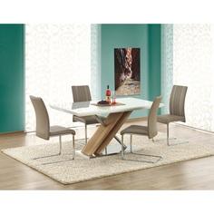 Szklany stół NEXUS biały / dąb sonoma 160 Halmar