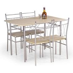 Zestaw stół + 4 krzesłaFAUST dąb sonoma Halmar