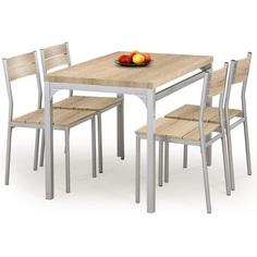 Zestaw stół + 4 krzesła MALCOLM dąb sonoma Halmar